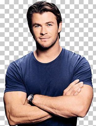 Chris Hemsworth Blue Tshirt PNG