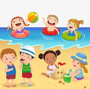 Playing On The Beach PNG