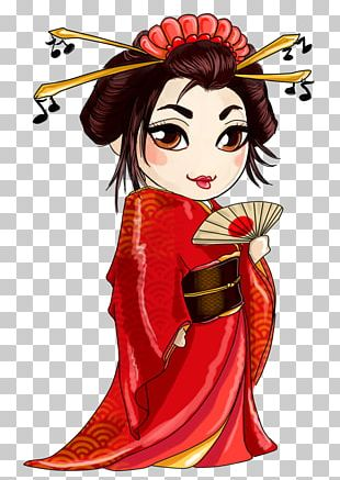 Japan Geisha Illustration PNG