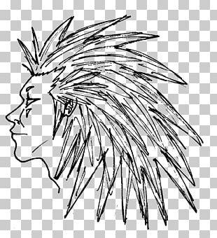 Leaf Line Art Character Sketch PNG