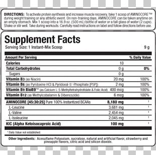 Dietary Supplement Branched-chain Amino Acid Nutrition Serving Size Whey Protein Isolate PNG