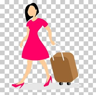 Woman With Luggage Baggage PNG
