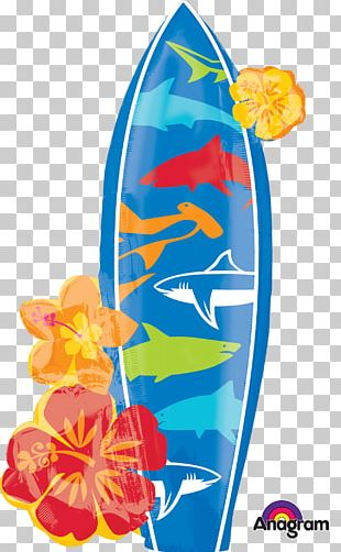 Balloon Birthday Party Luau Surfboard PNG