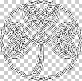 Coloring Book Shamrock Mandala Symbol Pattern PNG