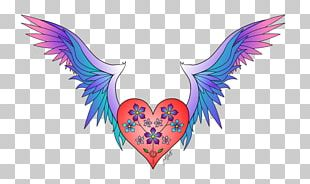 Heart Wings Haerts Color Drawing PNG