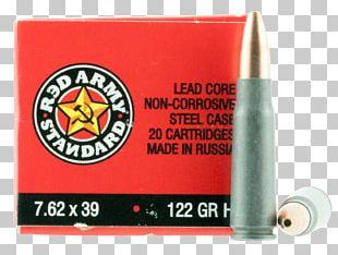 7.62×39mm Full Metal Jacket Bullet Red Army Standard Ammunition Cartridge PNG