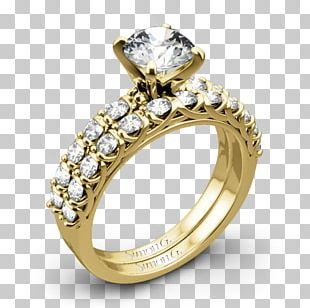 Wedding Ring Moissanite Colored Gold PNG