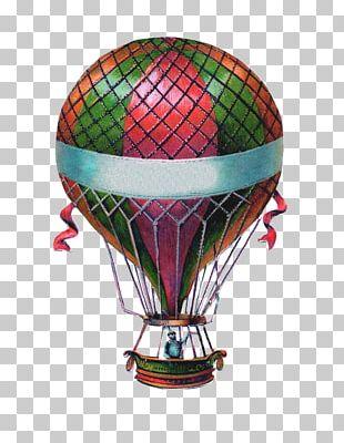 Hot Air Balloon Wedding Invitation Antique PNG