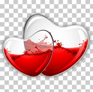 Red Wine Glass Heart PNG