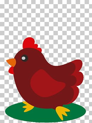 Rooster Illustration Heart RED.M PNG