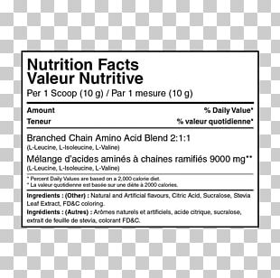 Nutrition Facts Label Branched-chain Amino Acid Protein If(we) PNG