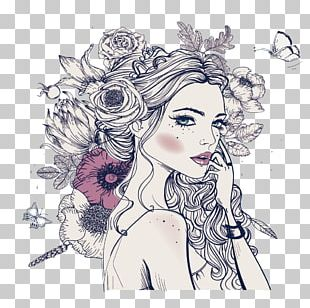 Coloring Book Woman Adult Drawing PNG