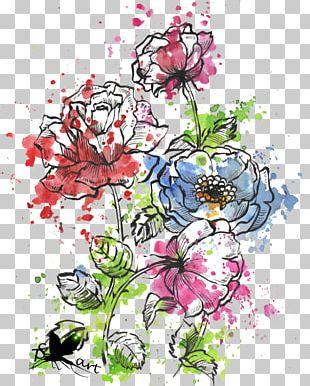 Watercolour Flowers Art Floral Design Cut Flowers PNG