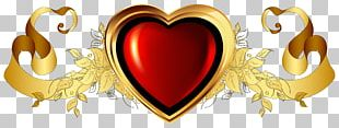Gold Heart Chemical Element PNG