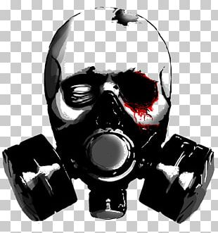 Stencil Gas Mask Skull Drawing PNG