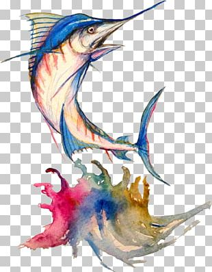 Art Watercolor Painting Drawing Atlantic Blue Marlin PNG