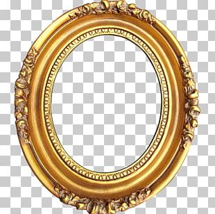 Frames Levkas Gold Wood Oval PNG
