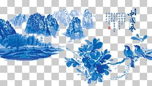Blue And White Pottery Chinoiserie Graphic Design PNG