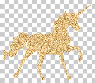Invisible Pink Unicorn Birthday Party Gold PNG