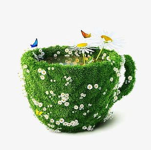 Creative Coffee Cup Flowers Landscape PNG