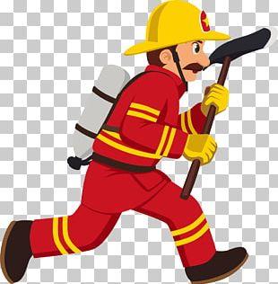 Firefighter Cartoon Illustration PNG