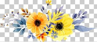 Wedding Invitation Paper Flower Yellow Watercolor Painting PNG