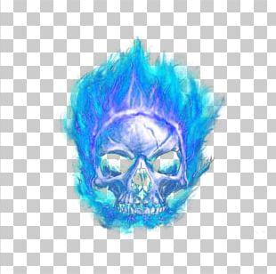 Skull Flame Blue PNG
