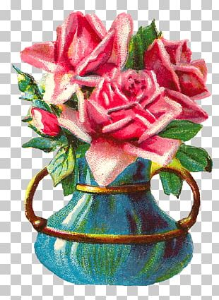 Vase Rose Flower Floral Design Shabby Chic PNG