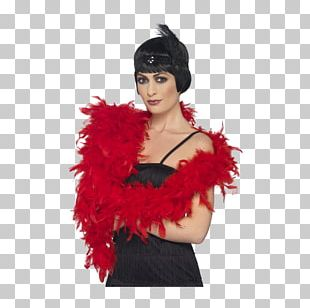 Feather Boa Costume Party Red PNG