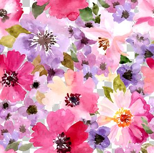 Watercolor Floral Seamless Background Material PNG