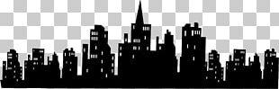 Batman Gotham City Skyline Silhouette Wall Decal PNG
