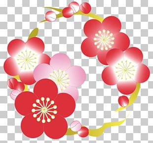 Floral Design Hinamatsuri Flower New Year Card Doll PNG