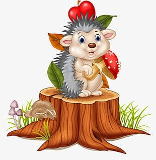 Hedgehog On The Stump PNG