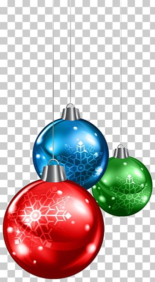 Red Green And Blue Christmas Balls PNG