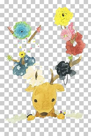 Deer Creative Watercolor Watercolor Painting PNG