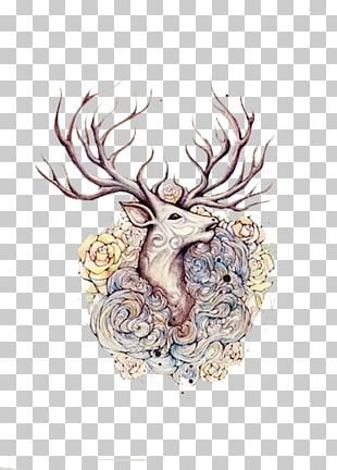 Moose Deer Elk Tattoo Flash PNG