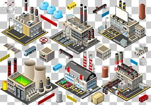 Factory Building Industry Isometric Projection PNG