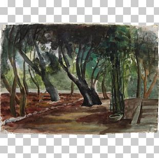 Watercolor Painting Landscape Tree PNG