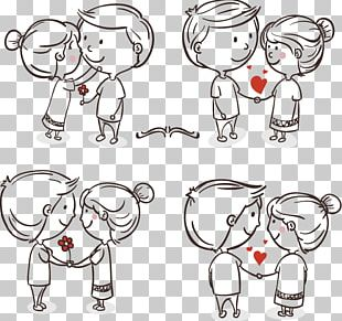 Drawing Romance Love Couple Cartoon PNG