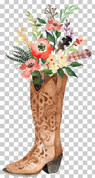 Cowboy Boot Watercolor Painting Boho-chic PNG