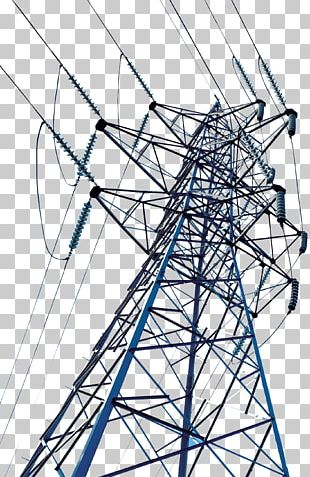 High Voltage Transmission Tower Electric Power Transmission Wire PNG