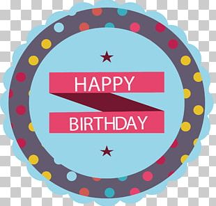 Blue Lace Birthday Label PNG