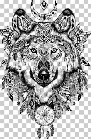 Gray Wolf Wall Decal Aztec Illustration PNG