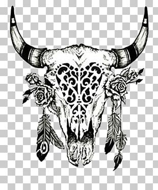 Cattle Drawing Cow's Skull: Red PNG