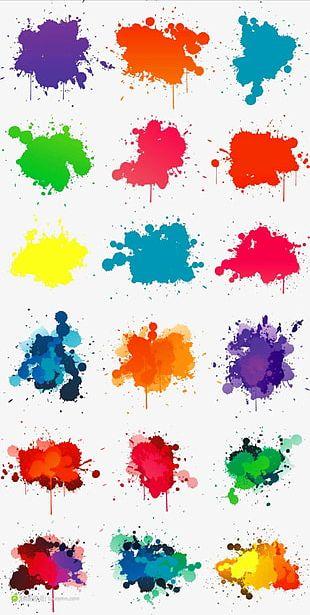 Color Pigment Splash Effect Decorative Elements PNG
