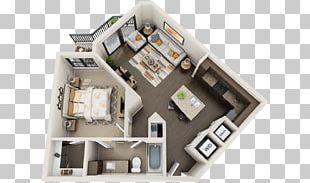 3D Floor Plan Studio Apartment House PNG