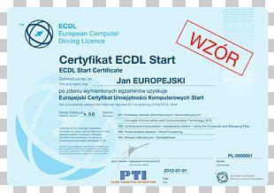 European Computer Driving Licence Akademický Certifikát Certification Information Technology PNG
