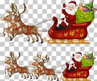 Santa Claus Reindeer Christmas Sled PNG
