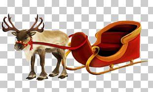 Santa Claus Village Rudolph Reindeer Sled PNG
