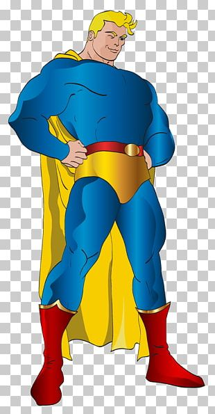 Superman Cartoon Yellow Outerwear Illustration PNG
